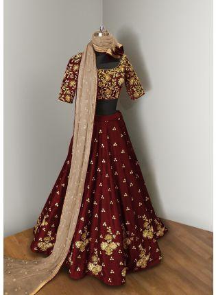 Trendy  Maroon Elegance  Lehenga Choli With Beige Net Dupatta