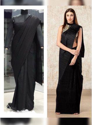 Black Color Pleating Look, Designer Saree