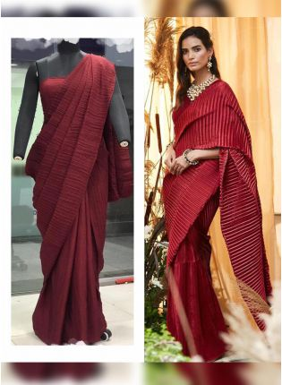 Maroon Color Pleating Look Designer Saree With Matching Blouse