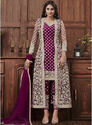 Dark Purple Color Jacket Style Bollywood Salwar Kameez