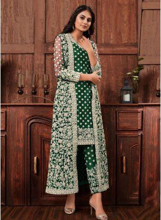 Dark Green Color Jacket Style Bollywood Salwar Kameez
