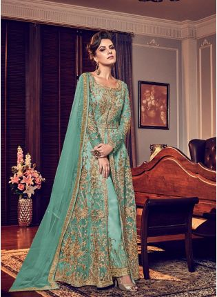 Top Sky Blue Color Party Wear Designer Wedding Wear Slit Cut Anarkali Suit
