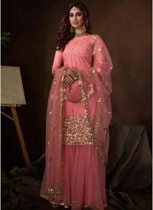 Stylish Splendid Light Pink Soft Net Base Festive Wear Sequin Sharara Suit