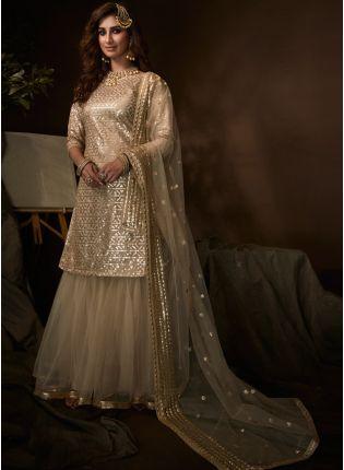 Iconic Tempting Beige Soft Net Festive Wear Sequin Work Sharara Suit