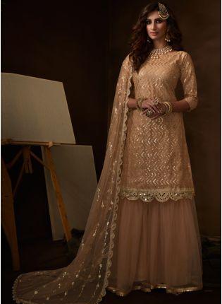Trendy Fashionable And Stylish Cream Soft Net Base Sequin Sharara Suit