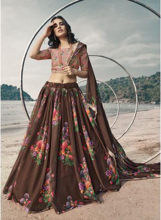 girl in Fabulous Brown Lehenga Choli Set