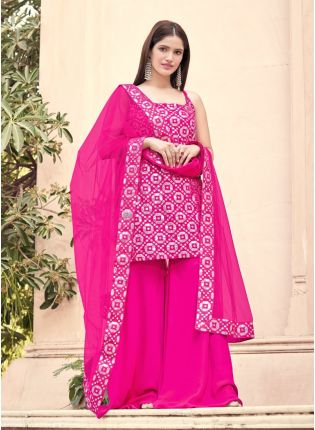 Elegant Pink Color Georgette Base With Heavy Gota Work Palazzo Suit