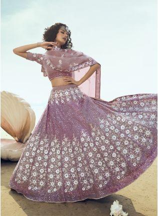 Shop Wonderful Lilac Soft Net Base Sequin And Resham Work Lehenga Choli