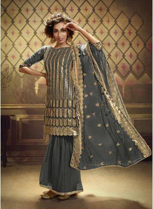 girl in Grey Net Salwar Suit