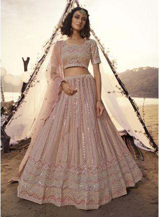 girl in Phenomenal Peach Lehenga Choli Set