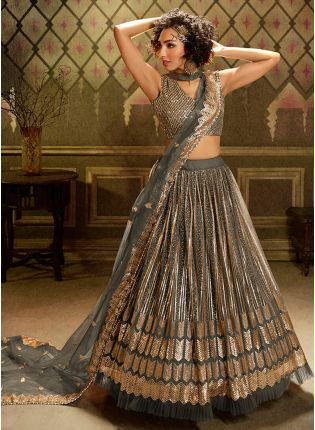 Shop Mesmerizing Dark Grey Soft Net Base Sangeet wear Lehenga Choli