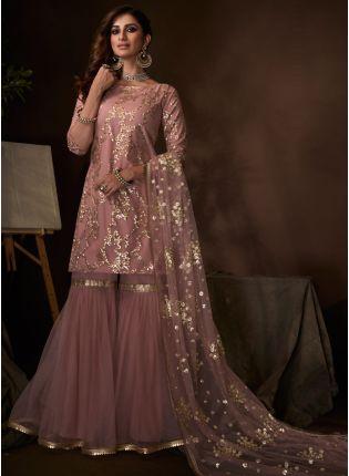 Stylish Mind-Blowing Blush Pink Ethnic Festive Wear Soft Net Base Sharara Suit