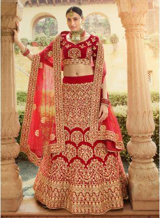 Shop Elegant Red Velvet Base Designer Zari Work Lehenga Choli