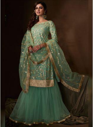 Stylish Phenomenal Pale Green Soft Net Festive Wear Flared Sharara Suit