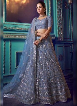 Shop Phenomenal Cloudy Grey Soft Net Base Designer Wedding Lehenga Choli