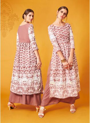 Peach Pink Palazzo Salwar Suit With Gota And Thread Work