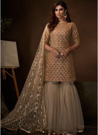 Shop Magnificent Beige Soft Net Base Festive Wear Sequin Sharara Suit