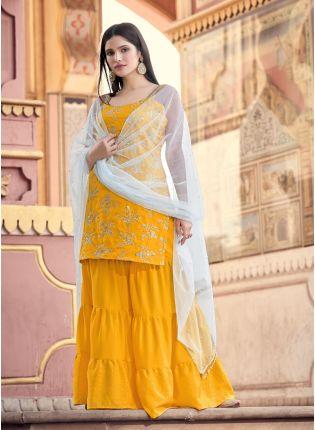 Eye-Captivating Yellow Color Zari And Sequins Base Sharara Suit