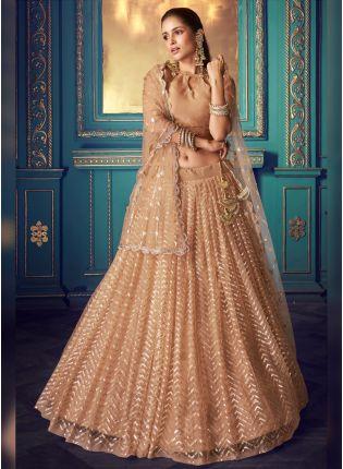 Buy Unbeatable Beige Soft Net Sequin And Zari Work Stylish Lehenga Choli