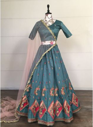 Chic Light Turquoise Color Silk Base With Embroidery Work Flared Lehenga Choli