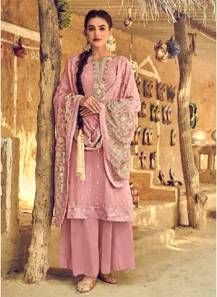 Gorgeous Peach Color With Palazzo Style Salwar Kameez