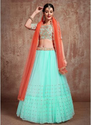 Affordable Delightful Sky Blue Color Soft Net Base Flared Lehenga Choli For Your Own Function