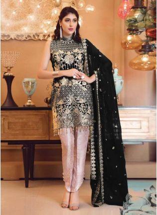Georgette Base Black Color Sequins And Zari Work Pakistani Pant Style Suit