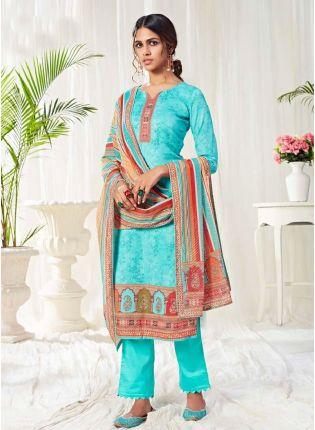 Brilliant Blue Color Salwar Kameez With Pant Style Suit