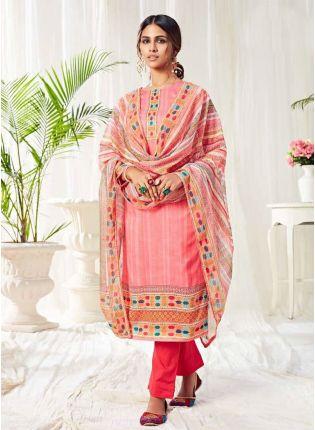 Delightful Pink Color Salwar Kameez With Pant Style Suit
