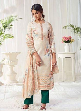 Fascinating Off-White Color Cotton Base Punjabi Style Suit