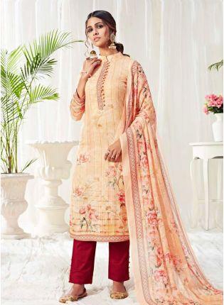 Decent Cream Color Salwar Kameez With Pant Style Suit