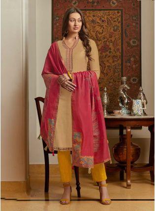 Cotton Fabric Beige Color Resham Work Pant Style Salwar Suit