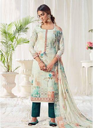 Brilliant Off-White Color With Pant Style Suit Salwar Kameez