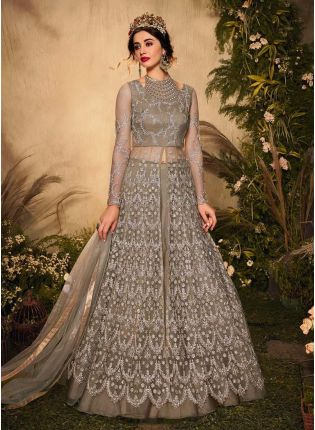 Glorious Grey Color Soft Net Base Gown