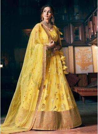 Sunshine Yellow Color Soft Net Base Heavy Work Designer Lehenga Choli