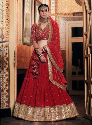 Eye-Captivating Red Color Georgette Base Sequins Base Bridal Lehenga With Designer Choli