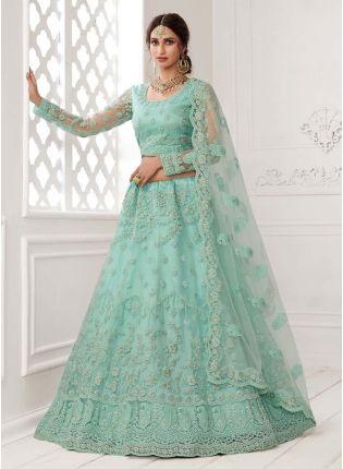 Dazzling Turquoise Blue Color Soft Net Base Lehenga Choli