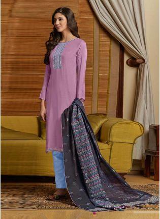 Light Purple Color Cotton Fabric Resham Work pant Style Salwar Suit