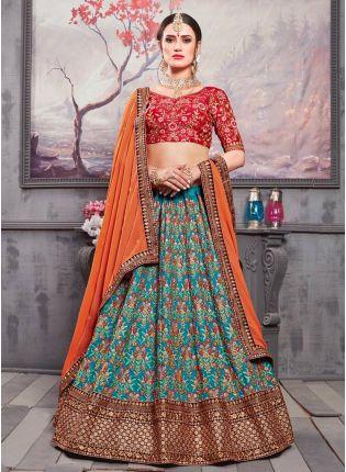 Purchase Blue Resham Zari Banarasi Silk Georgette Lehenga Choli