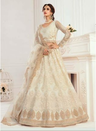 Glorious Off-White Color Soft Net Base Lehenga Choli