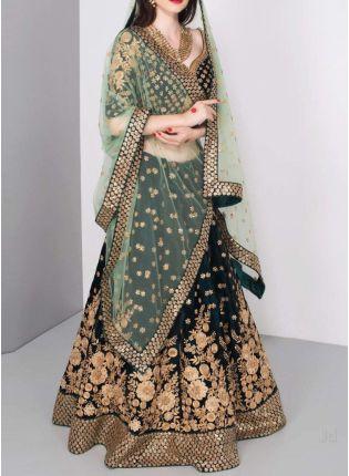 Trendy Dark Green Color Wedding Wear Designer Bridal Wear Lehenga Choli