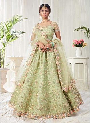 Fantastic Pastel Green Color Soft Net Base Lehenga Choli