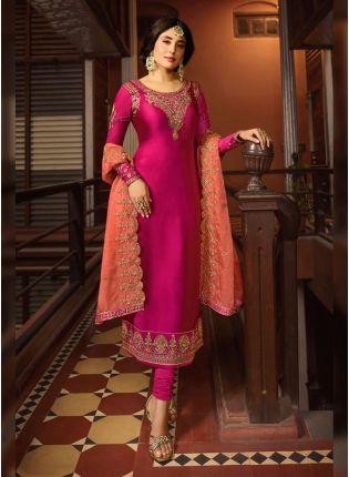 Shop Rani Pink Zari Work And Satin Straight Fit Salwar Suit