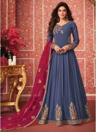 Decent Blue Zari Georgette Floor Length Anarkali Salwar Suit