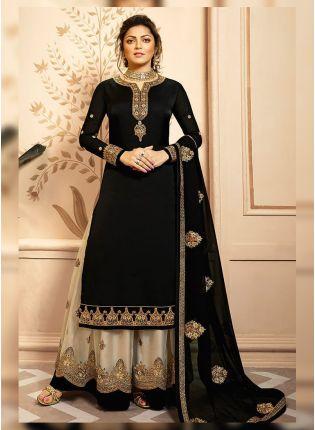 Buy Black Zari And Satin Fabric Palazzo Salwar Suit