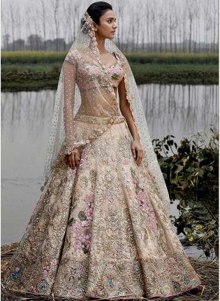 Trendy Elegant Off White Color Party Wear Crepe Base Bridal Lehenga Choli