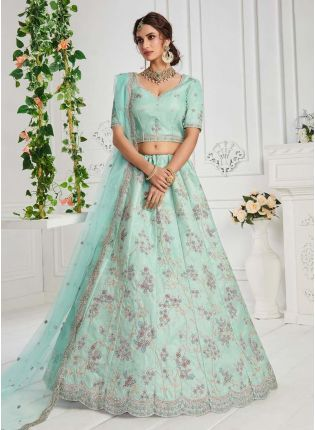 Eye-captivating Turquoise Color Silk Base Lehenga Choli