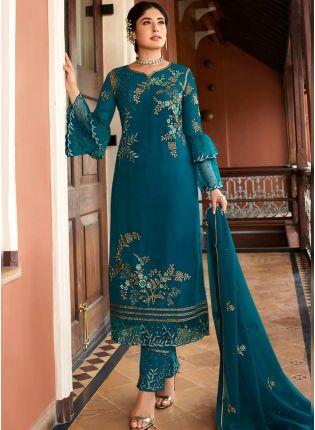 Decent Teal Green Zari And Satin Pant Style Straight Salwar Suit