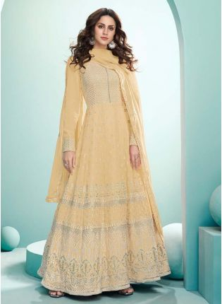 Magnificent Pastel Yellow Color Georgette Base Gown