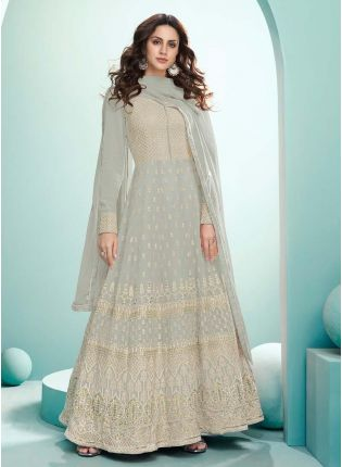 Beautiful Pastel Grey Color Georgette Base Gown